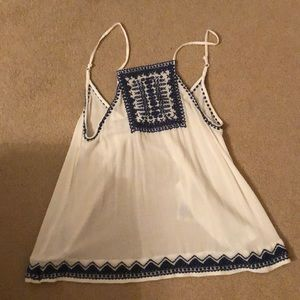 Urban outfitters embroidered open back tank top